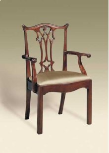 CARVED POLISHED MAHOGANY CHIPP ENDALE STRAIGHT LEG ARMCHAIR, NEUTRAL UPH