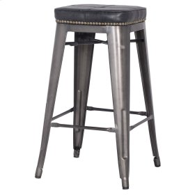 Metropolis KD PU Metal Backless Counter Stool, Vintage Black