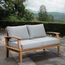 Marina Outdoor Patio Teak Loveseat in Natural Gray