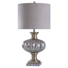 Fener Gold  Ribbed Mercury Glass Traditional Table Lamp with Metal and Crystal Glass Base  150 Wat