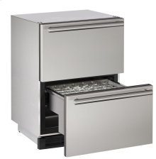 "Outdoor Series 24"" Outdoor Refrigerator Drawers With Stainless Solid Finish and Drawers Door Swing"