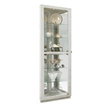 Dual Door 5 Shelf Corner Curio Cabinet in Antique White