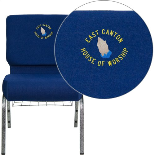 Embroidered HERCULES Series 21''W Church Chair in Navy Blue Fabric with Cup Book Rack - Silver Vein Frame