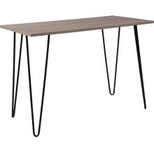 Oak Park Collection Driftwood Wood Grain Finish Console Table with Black Metal Legs