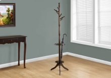 "COAT RACK - 71""H / DARK CHERRY WITH AN UMBRELLA HOLDER"