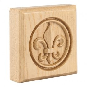 "3"" x 3"" x 7/8"" Fleur-de-Lis Rosette, Species: Maple"