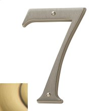 Satin Brass and Brown House Number - 7