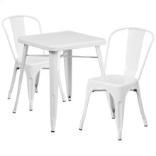 23.75'' Square White Metal Indoor-Outdoor Table Set with 2 Stack Chairs
