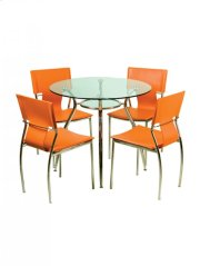 Round Dining Table - Clear Glass Top - Metal Chrome Base Product Image