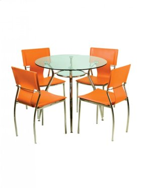 Round Dining Table - Clear Glass Top - Metal Chrome Base