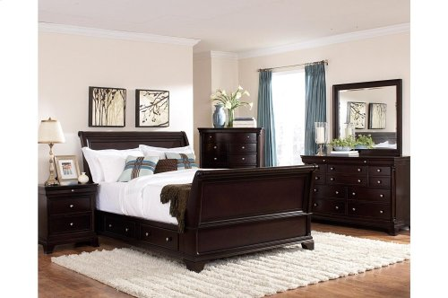Queen Sleigh Platform Bed with Rail Storage