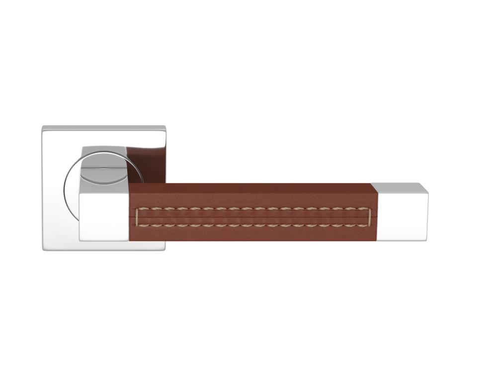 Square Stitch Out Recess Leather In Chestnut And Bright Chrome