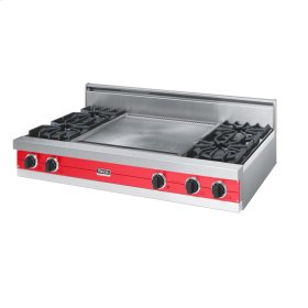 "Racing Red 48"" Open Burner Rangetop - VGRT (48"" wide, four burners 24"" wide griddle/simmer plate)"