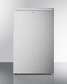 """20"""" Wide Built-in Undercounter All-freezer for General Purpose Use, -20 C Capable With A Lock, Stainless Steel Door, Horizontal Handle and White Cabinet"""