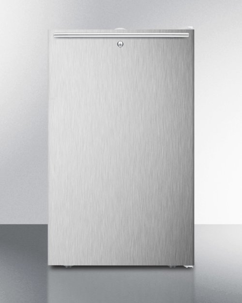 "20"" Wide Built-in Undercounter All-freezer for General Purpose Use, -20 C Capable With A Lock, Stainless Steel Door, Horizontal Handle and White Cabinet"