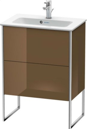 Vanity Unit Floorstanding Compact, Olive Brown High Gloss Lacquer
