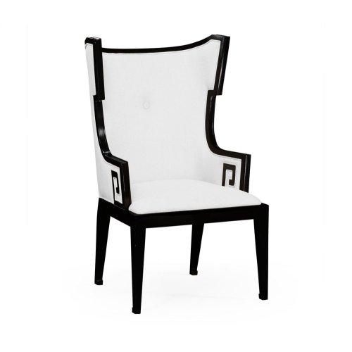 Greek Key Design Biedermeier Black Armchair - COM
