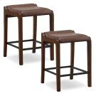Sienna Wood Fastback Counter Height Stool with Sable Faux Leather Seat #10116SN/SB - Set of 2 Product Image