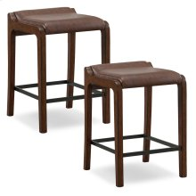 Sienna Wood Fastback Counter Height Stool with Sable Faux Leather Seat #10116SN/SB - Set of 2
