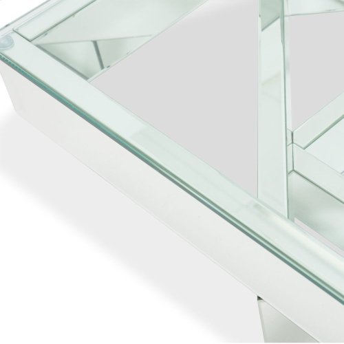 Square Cocktail Table W/ Glass Top