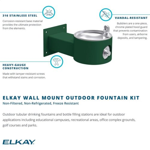 Elkay Outdoor Fountain Wall Mount Non-Filtered, Non-Refrigerated Freeze Resistant Purple