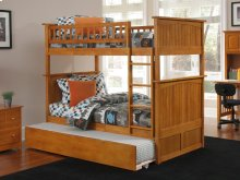 Nantucket Bunk Bed Twin over Twin with Urban Trundle Bed in Caramel Latte