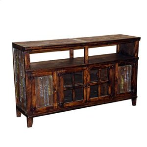 """72"""" x 17"""" x 36"""" Medio TV Stand W/Painted Reclaimed Wood Doors"""