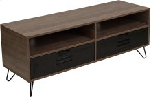 Woodridge Collection Rustic Wood Grain Finish TV Stand with Metal Drawers and Black Metal Legs
