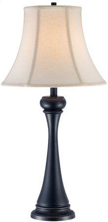 Table Lamp, Black Bronze/linen Fabric Shade, E27 Cfl 23w