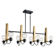 Arvela 8 Light Linear Chandelier Black