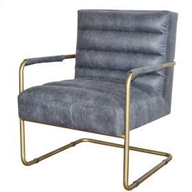 Peyton Bonded Leather Chair Gold Frame, Vintage Midnight