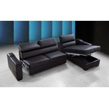 Divani Casa Flip - Reversible Espresso Leather Sectional Sofa Bed with Storage