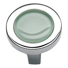Spa Green Round Knob 1 1/4 Inch - Polished Chrome
