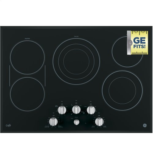 """CLOSEOUT - GE Cafe™ Series 30"""" Built-In Knob Control Electric Cooktop"""
