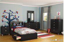 Storage Bed and Bookcase Headboard Set - 39''