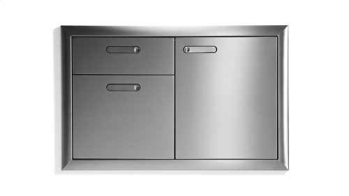"36"" Storage door & double drawer combination"