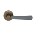 Tube Stitch Incombination Leather Door Lever In Slate Grey And Fine Antique Brass Product Image