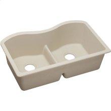 "Elkay Quartz Classic 33"" x 20"" x 9-1/2"", Equal Double Bowl Undermount Sink with Aqua Divide, Putty"