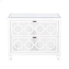 White Lacquer and Mirror 2 Drawer Nightstand W. Inset Beveled Mirror Top. All Drawers On Glides. Product Image