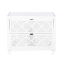 White Lacquer and Mirror 2 Drawer Nightstand W. Inset Beveled Mirror Top. All Drawers On Glides.