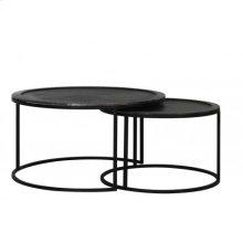 Coffee table S/2 60x37+ 78x41 cm TALCA lead antik deep edge