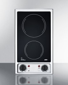 2-burner 120v Electric Cooktop With Smooth Black Ceramic Glass Surface