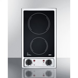 Summit115v 2-Burner Radiant Cooktop With Smooth Black Ceramic Glass Surface And Preinstalled Cord
