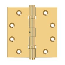 """4 1/2""""x 4 1/2"""" Square Hinges, Ball Bearings - PVD Polished Brass"""