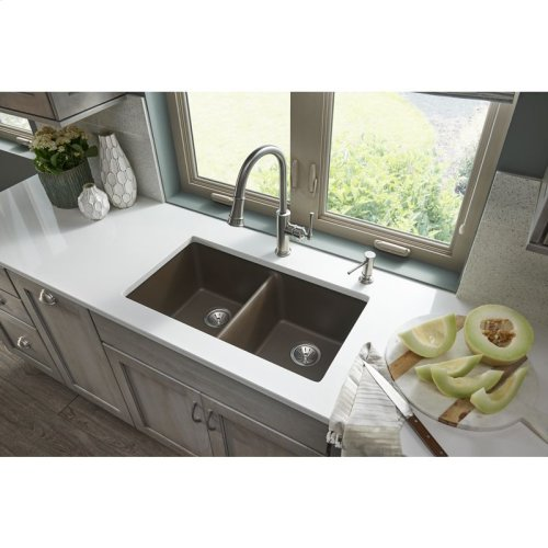 "Elkay Quartz Classic 33"" x 18-1/2"" x 9-1/2"", Equal Double Bowl Undermount Sink, Mocha"