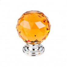 Amber Crystal Knob 1 3/8 Inch - Polished Chrome