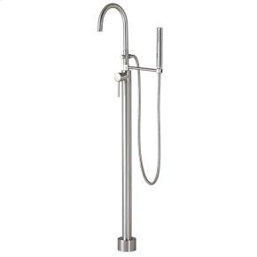 Contemporary Floor Mount Bathtub Faucet - Brushed Nickel