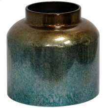 Sea Green & Antique Silver  10in Metal Vase
