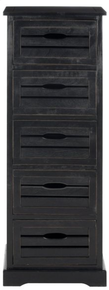 Sarina 5 Drawer Cabinet - Distressed Black