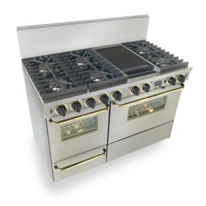 "Five Star48"" Dual Fuel, Convect, Self Clean, Sealed Burners, Stainless Steel with Brass Trim"